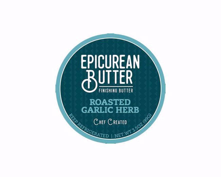 Epicurean Roasted Garlic Herb Butter Label
